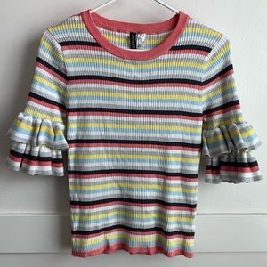 Divided Ribbed Ruffle Sleeve Pullover Sweater